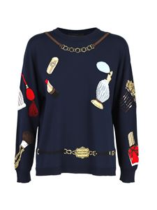 Moschino Boutique - Contrasting motif sweater in blue