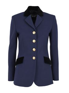 Moschino Boutique - Jacket with velvet details in blue