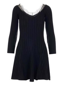 Red Valentino - Lave insert knitted dress in black