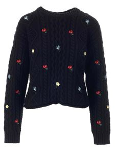 Red Valentino - Floral embroideries sweater in black