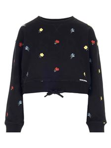 Red Valentino - Floral embroideries cropped sweatshirt in black