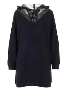 Red Valentino - Lace details hoodie in black