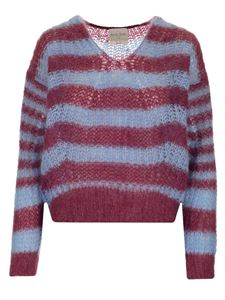 Forte Forte - Striped sweater in burgundy and light blue