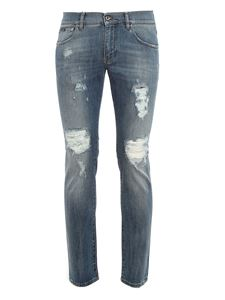 Dolce & Gabbana - Distressed skinny jeans in blue