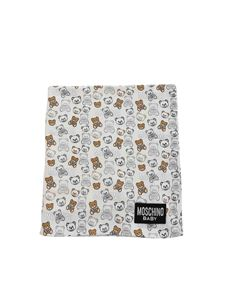 Moschino Kids - Teddy Bear all-over blanket in white