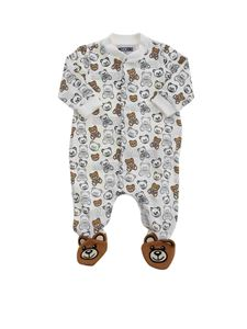 Moschino Kids - All-over Teddy Bear romper suitin white