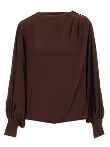Federica Tosi - Buttons on the shoulder blouse in brown