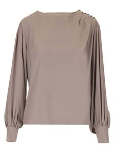 Federica Tosi - Buttons detail blouse in dove grey color