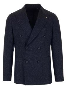 Tagliatore - Wool blend double-breasted jacket in blue