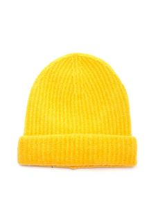 Roberto Collina - Ribbed knit beanie in yellow