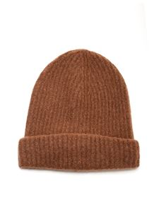 Roberto Collina - Ribbed knit beanie in brown