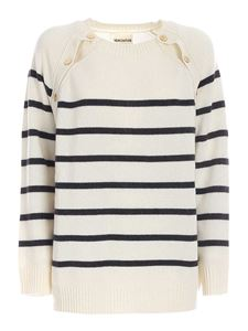Semicouture - Striped sweater in ivory and gray