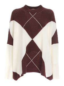 Semicouture - Oversized sweater in brown and white