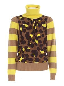 Semicouture - Animalier turtleneck in brown and yellow