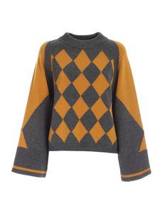Erika Cavallini - Boxy fit sweater in grey and mustard color