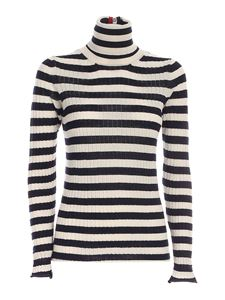 Semicouture - Striped turtleneck in blue and ivory color