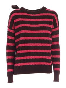 Semicouture - Rear vent sweater in fuchsia and brown
