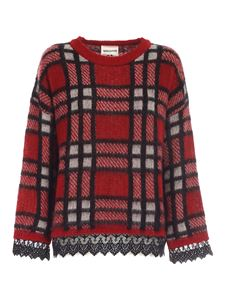 Semicouture - Oversized checked sweater in red