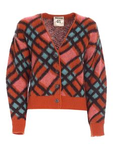 Semicouture - Checked cardigan in orange and light blue