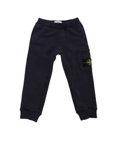 Stone Island Junior - Logo patch pants in blue