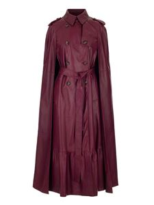 Red Valentino - Leather long coat in plum color