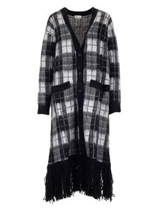 Red Valentino - Check print coat in black and white