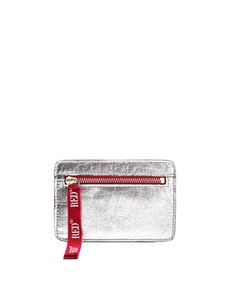 Red V - Zipped small clutch bag in silver color