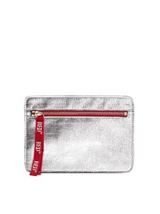 Red V - Zipped clutch bag in silver color