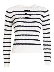 Red Valentino - Cable knit striped sweater in white