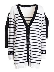 Red Valentino - Bow detailed striped cardigan in white