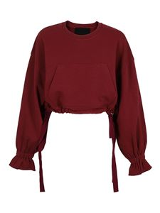 Red Valentino - Cropped sweatshirt in burgundy color