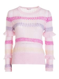 Red Valentino - Striped modal blend crewneck in pink