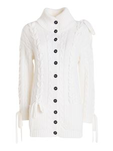 Red Valentino - Bow-detailed long cardigan in white
