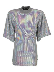 The Attico - Embellished T-shirt in silver color