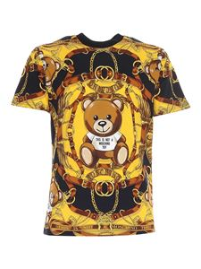 Moschino - Teddy logo print T-shirt in black and yellow