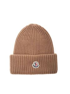 Moncler - Logo patch beanie in brown