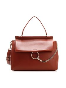 Chloé - Leather Large Faye bag in Sepia Brown