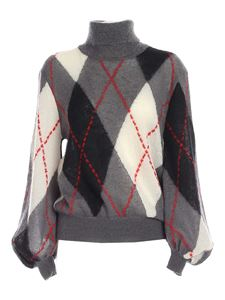 Moschino - Argyle turtleneck in gray and black