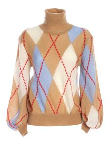 Moschino - Argyle turtleneck in camel and light blue