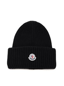 Moncler - Logo patch beanie in black