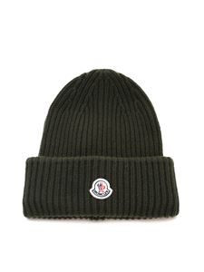 Moncler - Logo patch beanie in green