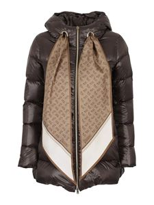 Herno - Scarf detailed puffer jacket in brown