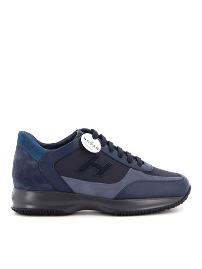Interactive leather and suede sneakers in blue