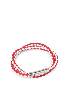 Tod's - White and red leather double wrap bracelet
