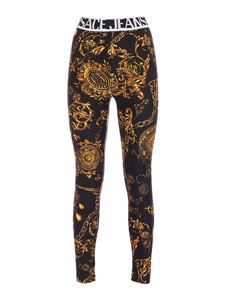 Versace Jeans Couture - Leggings stampa baroque neri