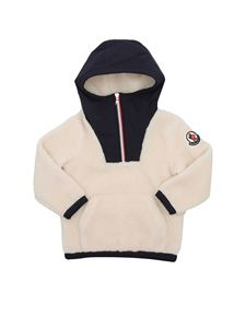 Moncler Enfant - Teddy effect sweatshirt in Ivory and blue