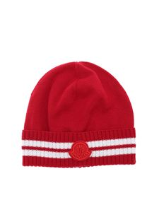 Moncler Enfant - Logo patch beanie in red