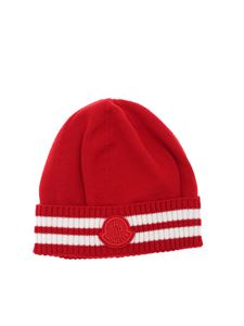 Moncler Enfant - Striped beanie in red