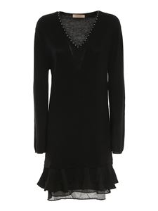 TWINSET - Wool blend fringed studded dress in black