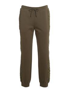 TWINSET -  Joggers a righe in pizzo verde